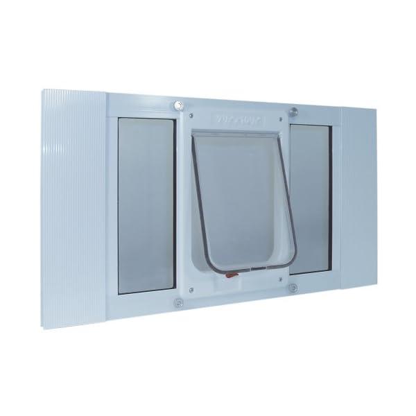 Ideal Pet Products Aluminum Sash Window Pet Door,  Chubby Kat,7.5″ x 10.5″ Flap Size, White