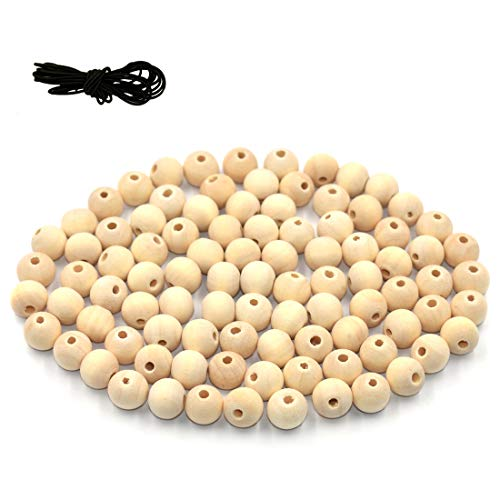 DLUcraft 300PCS 12mm Unfinished Natural Color Round Ball Wood Spacer Beads DIY Loose Wooden Beads for Jewelry Making Bracelet Spacer Charms -