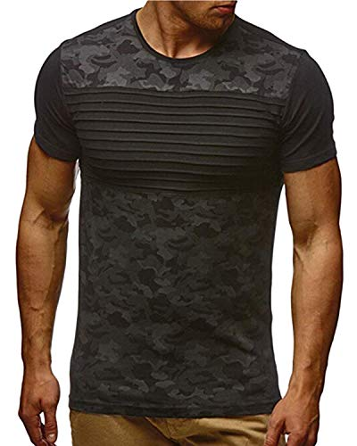 KENANCY Mens Crewneck Sweatshirt Casual Camouflage Printed Slim Fit Short Sleeve Tee Shirts Black XL