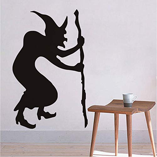 Hunchback Witch Halloween Wall Stickers, Halloween Wall Decals, Witch of Silhouette Wallpaper Halloween Decoration Home Decor -