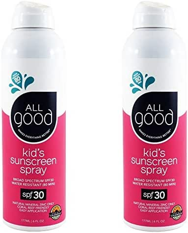 All Good Kids Sunscreen Spray - Zinc Oxide - Coral Reef Safe - Water Resistant - UVA/UVB Broad Spectrum - SPF 30 (2-Pack)