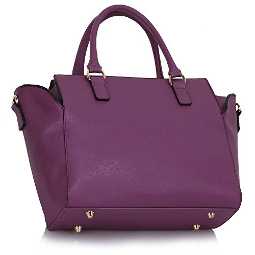 Handbags Purple Designer New Large Style Ladies Luxury Shoulder Leather Look Bags Tote Womens Faux Design New 1 W7vaSXc