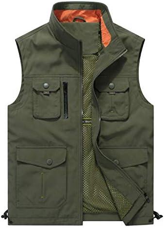アウトドアベストメンズフィッシング写真ディレクターマルチポケットジャケット3色 UOMUN (Color : Army green, Size : M)
