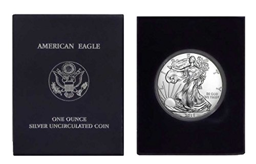 2018 - 1 Ounce American Silver Eagle in Plastic Air Tite and Blue Gift Box Dollar Uncirculated Us Mint (Dollars Silver American Eagle)