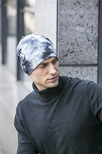 gris Cap BaronHong hombres 100 azulado Skull Slouchy algodón Beanie los Diario Hat para POqTP