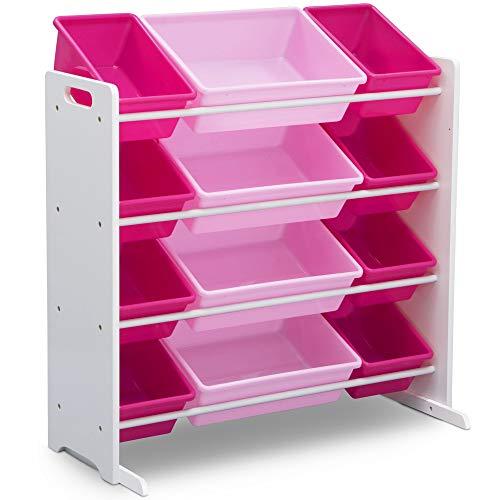 41ht3kdnYTL - Delta Children Kids Toy Storage Organizer with 12 Plastic Bins, White/Pink