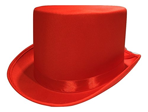[Tuxedo Silk Satin Top Hat Roaring 20s Adult Child Formal Costume Magician, Red, One Size] (Victorian Carolers Costumes)