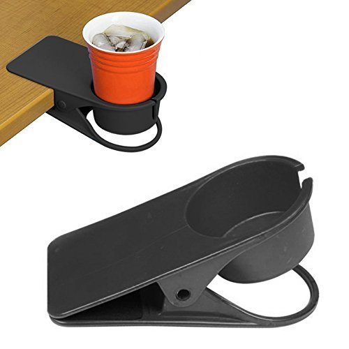 Cup Holder Clip On Cup Holder Clamp for Desk with Hole for Mug Handle , Ingenious Portable Water Beverage Soda Coffee Mug Bottle Drink Stand, Durable Spring Mechanism For Table Home Office, Black ()