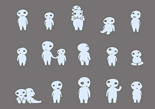 (Manga Anime Spirited Away Wall Decals Kodama Stickers Decorative Design Ideas for Your Home or Office Walls Removable Vinyl Murals EC-1092)