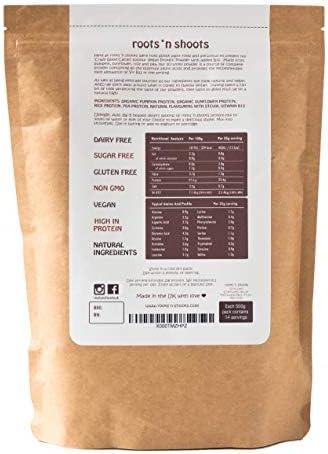 Bebida de Proteínas Vegana con B12 Agregado, 500g (Cacao/Chocolate) Hecha con 4 Proteínas de Plantas Premium   Sin Gluten   Sin Azúcar   Ingredientes ...
