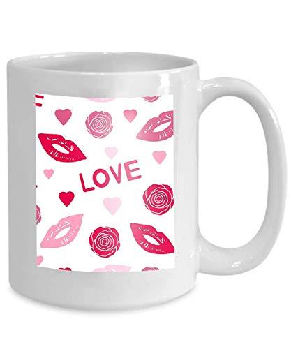 (mug coffee tea cup colorful lips flowers words love hearts colorful lips flowers words love Little 110z )