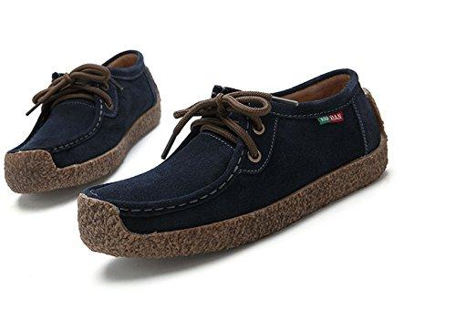 Xiu Snail Women Genuine XIUXIAN Lace Blue up Shoes Leather Xian Sneaker Flat Casual dqHqOUx