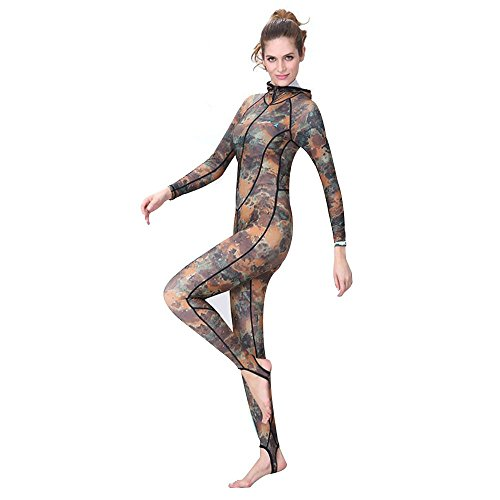 [Wetsuit/Dive Skin/Full Suit with Hooded and Super-stretch Armpit, Freehawk Camo UVA/UVB 50+ Protection Snorkeling Swim Lycra Skin Diving suit,Full Body Suit,Swimsuit for Men/Women/Youth (Woman] (Aerobics Costume Designs)