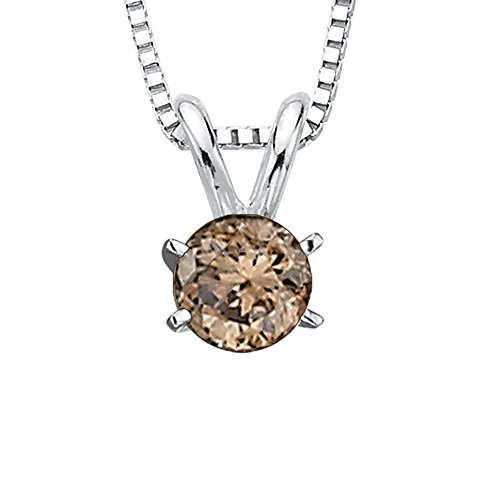 Brown / Champagne - I1 Diamond Solitaire Pendant Necklace in 14K White Gold (1/10 cttw) (Diamond I1 Necklace)