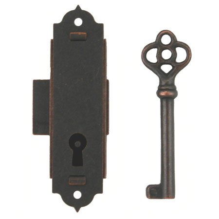 L-5 Antique Narrow Cabinet Door OR CASE Lock OR Grandfather Clock + Free Bonus (Skeleton Key Badge -