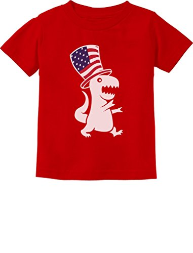 American T-Rex Dinosaur USA Flag 4th of July Toddler/Infant Kids T-Shirt 24M Red ()