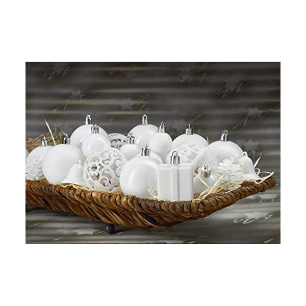 Brubaker Set di 101 Accessori Decorativi per L'Albero di Natale - addobbi Natalizie in Color Bianco - Diverse Forme di Palline ed Un Puntale per Albero di Natale 4 spesavip