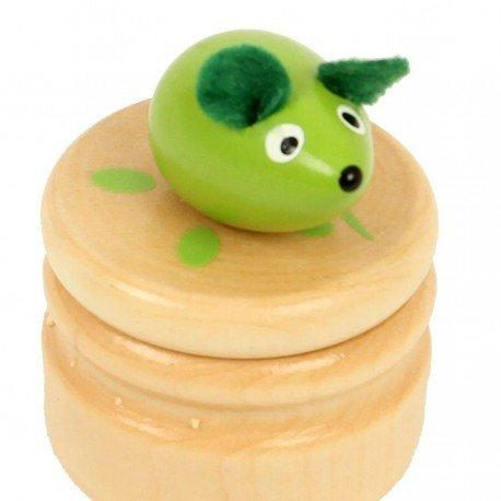 Boite à dents de lait souris verte boîte en bois couvercle à visser enfant 5 ans Ulysse