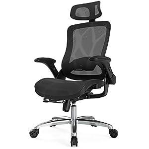 Hbada Chaise de Bureau Ergonomique Réglable, Fauteuil de Bureau avec Support Lombaire, Siege Confortable avec Appui-tête…