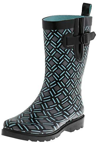 Capelli New York Ladies Minimalist Weave Printed Mid Calf Rain Boots Black Combo 8