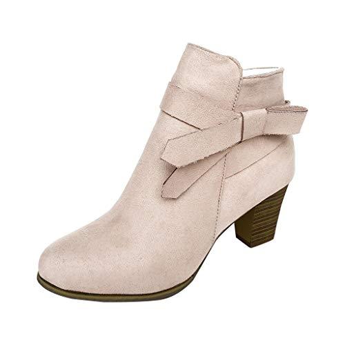 ANJUNIE Pure Color Round Toe Bootie for Women,Bowknot Zipper Square Heels Vintage Boots Shoe