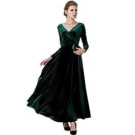 Medeshe Women's Emerald Green Christmas Long Velvet Party Maxi Dress