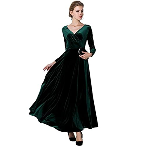 Medeshe Womens Emerald Green Christmas Long Velvet Maxi Dress (18/20)