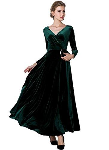 Medeshe Women's Emerald Green Christmas Long Velvet Maxi Dress (18/20) ()