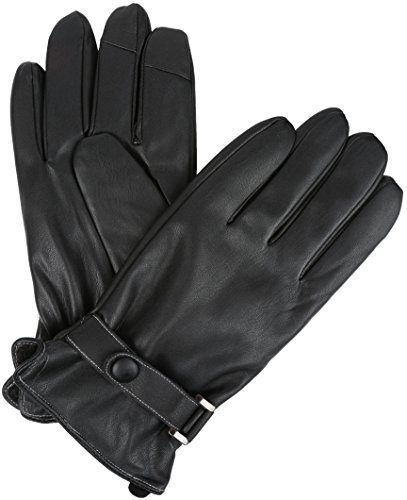 Sakkas 16176 - Kaleem Adjustable Snap Touch Screen Compatible Driving Faux Leather Gloves - Black - S/M