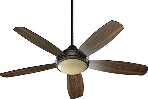 (Quorum International 36525-986 Colton 52-Inch Ceiling Fan, Oiled Bronze Finish with Amber Scavo Glass and Reversible Teak/Walnut Blades)
