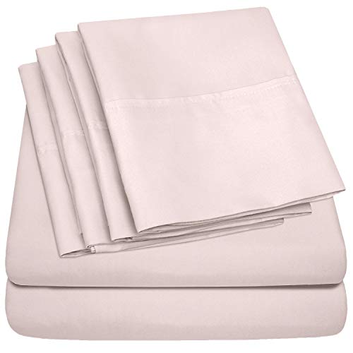 Sheet Set Blush - Queen Sheets Pale Pink - 6 Piece 1500 Thread Count Fine Brushed Microfiber Deep Pocket Queen Sheet Set Bedding - 2 Extra Pillow Cases, Great Value, Queen, Pale Pink
