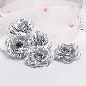 Lotus leaf fragrance 10pcs 8cm Gold Artificial Rose Silk Flower Heads Decorative Flowers for Wedding Home Party Banquet Decoration,Light Blue 4