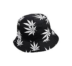 Drawihi, sombrero de algodón estampado, versión coreana, hoja de arce, sombrero Fischer de verano, algodón, Weiß, 56-58 cm