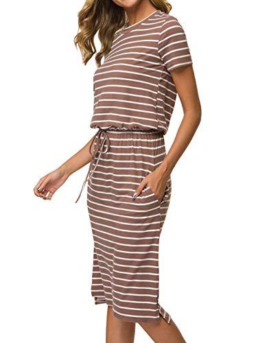 Simier Fariry Womens Adjustable Waist Line Midi Dress with Pockets