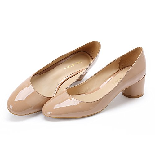Office Shoes Without Closed Patent Toe Buckle Nude Buckle Pump Dress Bee Round Block Patent Work Mid Gianni Women's Chunky Darco Heel Black RnT6OqB