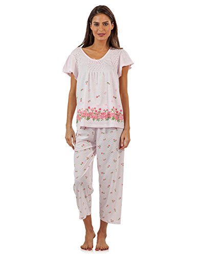 Casual Nights Women's Short Sleeve Floral Border Capri Pajama Set - Pink - XX-Large