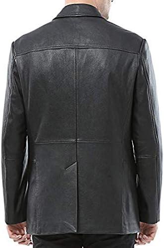 Leather Hubb Veste Blazer Cuir Homme Vetement Cuir Noir 2 Button