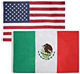 Cheap 2 Pack – 3×5 Feet Nylon Mexican & American Flag Combo Pack – Embroidered Oxford 210D Nylon – Durable & Long Lasting – by Cascade Point (Mexico & USA Flag Combo Pack)