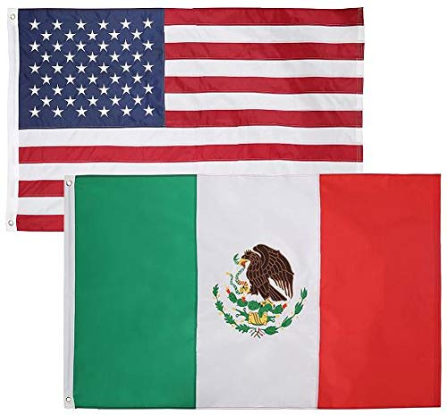 2 Pack - 3x5 Feet Nylon Mexican & American Flag Combo Pack - Embroidered Oxford 210D Nylon - Durable & Long Lasting - by Cascade Point (Mexico & USA Flag Combo Pack)