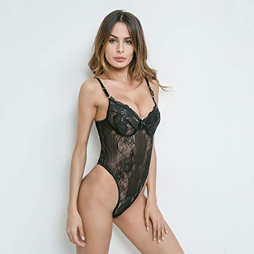 Backless Teddie - Women Sexy One Piece Lingerie Clothes Lace Mesh Hollow Strappy Backless Teddies Sleepwear Nightwear Bodysuit (Color : L Black)