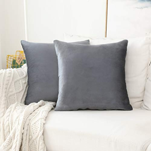 Home Brilliant 2 Pack Velvet Cushion Covers Throw Pillow Cover Set Decorative Pillowcase for Sofa Couch Bed, 18x18 inches,Gun Metal Grey from Home Brilliant