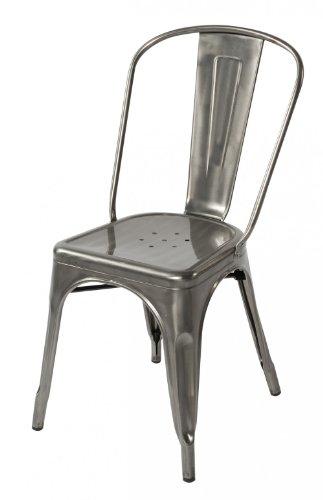 Amazoncom Lemoderno Galvanized Steel Side Chair 4 Gun Metal