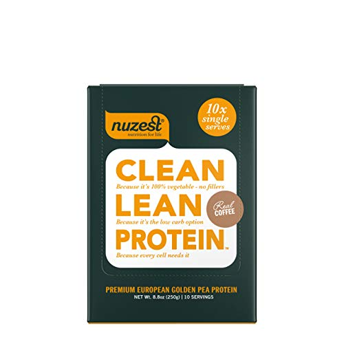 Nuzest Clean Lean Protein - Premium Vegan Protein Powder, Plant Protein Powder, European Golden Pea Protein, Dairy Free, Gluten Free, GMO Free, Naturally Sweetened, Real Coffee, 10 Serving