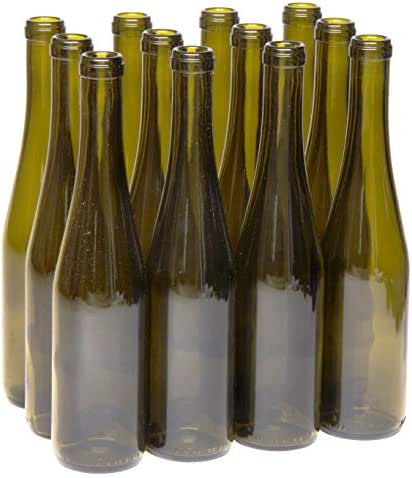 North Mountain Supply 375ml Glass Stretch Hock Wine Bottle Flat-Bottomed Cork Finish - Case of 12