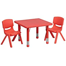 Flash Furniture 24'' Square Adjustable Red Plastic Activity Table Set with 2 School Stack Chairs [YU-YCX-0023-2-SQR-TBL-RED-R-GG]