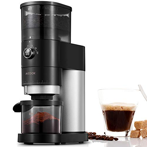 Burr Coffee Grinder, AICOOK Electric Conical Burr Grinder with 42 Precise Grind Settings, One Touch with 50S Grinding…