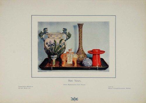 1905 Rare Vases Ceramic China Color Decorative Print - Original Color Print from PeriodPaper LLC-Collectible Original Print Archive