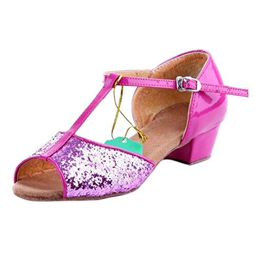 SANTSIWEI New Arrival Ballroom Dance Shoes For Women And Kids Latin Shoes Heel High 3.5cm-Paillette Red,8 - Paillette High Heel