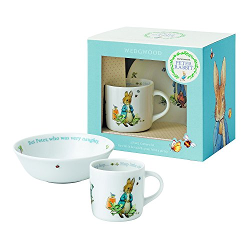 [Wedgwood Boy's Peter Rabbit 2-Piece Bowl and Mug Set, White and Blue] (Peter Cotton Tail)