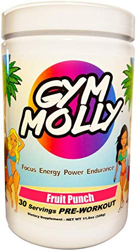 Gym Molly Pre Workout Powder Energy Drink Supplement BCAAs 0 Carbs for Men Women, Fruit Punch 30 Servings, 11.4 oz